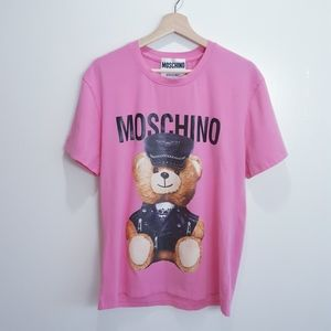 Moschino Couture Leather Biker Bear Tee